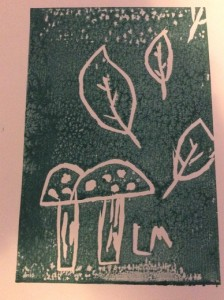 Illustration: Falling autumn leaves and fungi by Lowenna Mitchell aged 6 years (lino print)